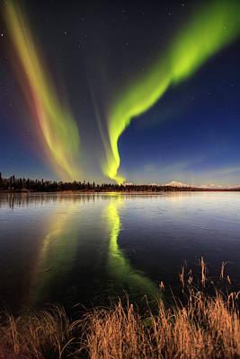 Frozen Lake Photograph - Aurora Glide by Ed Boudreau