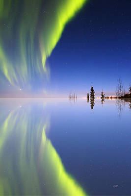Alaska Photograph - Aurora Mirrored by Ed Boudreau