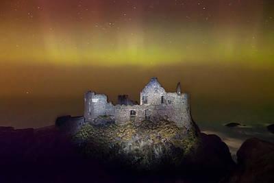 Photograph - Aurora Over Dunluce Castle by George Pennock