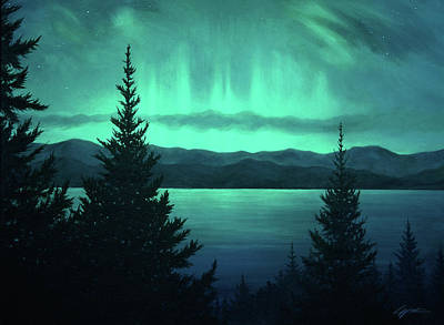 Painting - Aurora Over Lake Pend Oreille by Lucy West