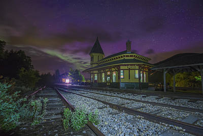 Photograph - Aurora Over The Crawford Notch Depot by Chris Whiton