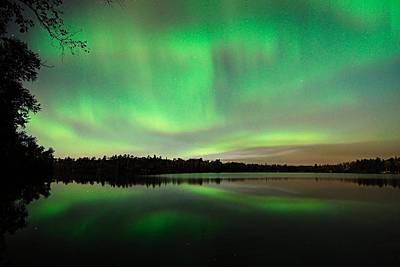 Outside Photograph - Aurora Over Tofte Lake by Larry Ricker