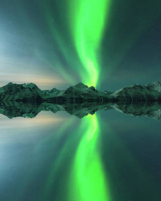 Mirror Art Photograph - Aurora Powersurge by Tor-Ivar Naess