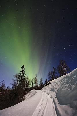 Winter Scene Photograph - Aurora Rising by Ed Boudreau