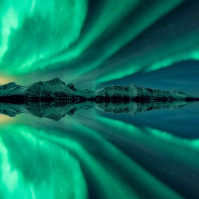 Mirror Photograph - Aurora Square 2 by Tor-Ivar Naess