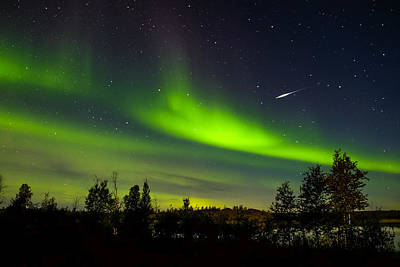Photograph - Aurora With Meteor  by John McArthur