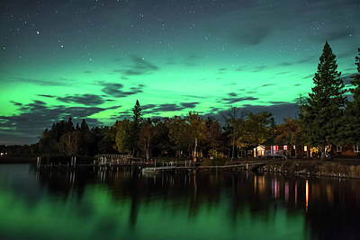 Photograph - Aurora's Over A Moonlit Shoreline - 35 by Bear Paw Resort Photography