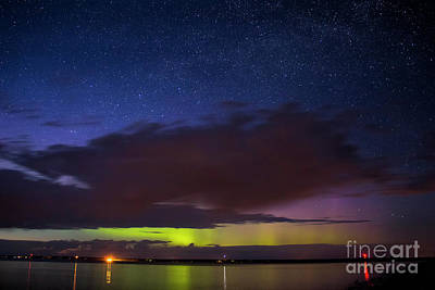 Auroras Over Lake Art Print