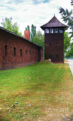 Concentration Digital Art - Auschwitz Guard Tower by Chris Evans