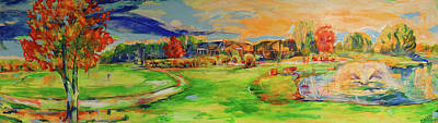Painting - Aussicht Auf Das Clubhaus Vom Fairway   View Of The Clubhouse From The Fairway by Koro Arandia