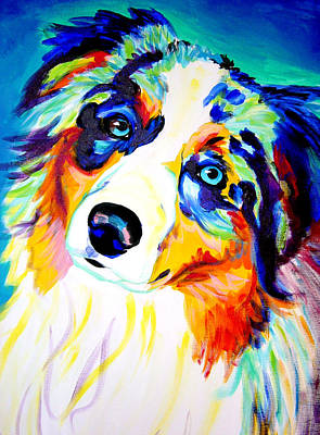 Colorful Dog Wall Art - Painting - Aussie - Moonie by Alicia VanNoy Call