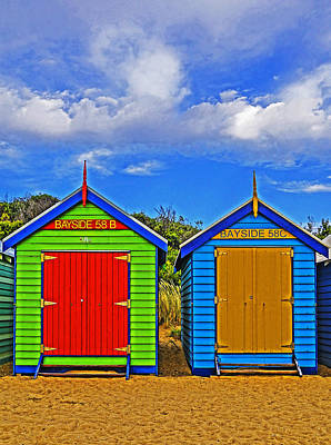 Aussie Beach Boxes Art Print by Dennis Cox WorldViews