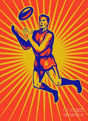 Aussie Digital Art - Aussie Rules Player Jumping Ball by Aloysius Patrimonio