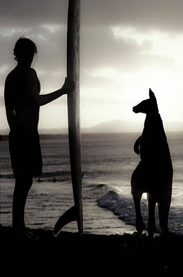 Friends Photograph - Aussie Surf Silhouettes by Sean Davey