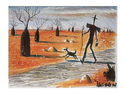 Aussie Swagman On Lonely Road Art Print