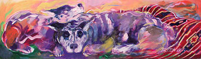 Herding Dog Painting - Aussies On An Indian Blanket by Ron Patterson