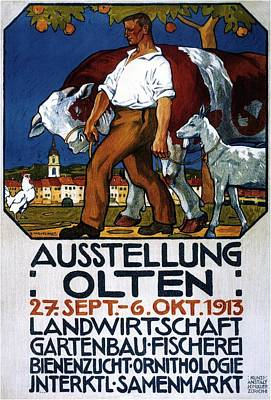 Mixed Media - Ausstellung Olten - 1913 - Man With Cattle And Goat - Retro Travel Poster - Vintage Poster by Studio Grafiikka