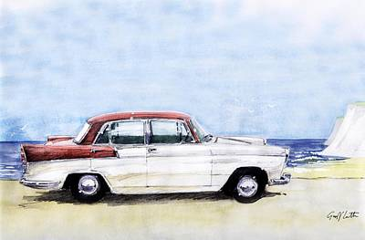 Austin Drawing - Austin A55 Cambridge Saloon At The Coast by Geoff Latter