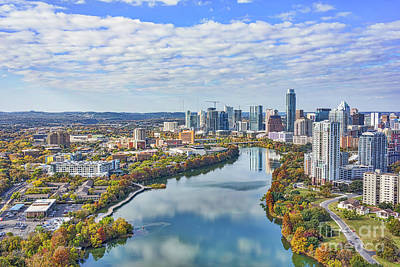 Texas Photograph - Austin Aerial Skyline View by Tod and Cynthia Grubbs