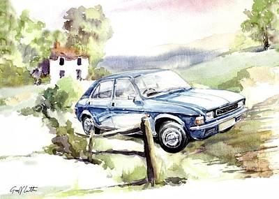 Austin Drawing - Austin Allegro 1500 Super Saloon by Geoff Latter