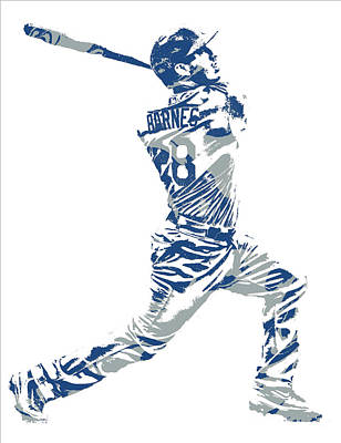 Mixed Media - Austin Barnes Los Angeles Dodgers Pixel Art 1 by Joe Hamilton