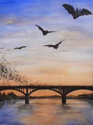 Mexican Town Painting - Austin Bats Take Flight by Robert Plog