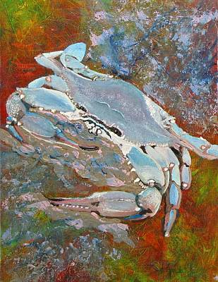 Wall Art - Painting - Austin Blue Crab by Laura Gabel