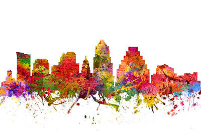 Austin Skyline Wall Art - Painting - Austin Cityscape 08 by Aged Pixel