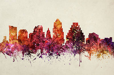 Austin Skyline Wall Art - Painting - Austin Cityscape 09 by Aged Pixel
