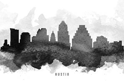 Austin Skyline Wall Art - Painting - Austin Cityscape 11 by Aged Pixel