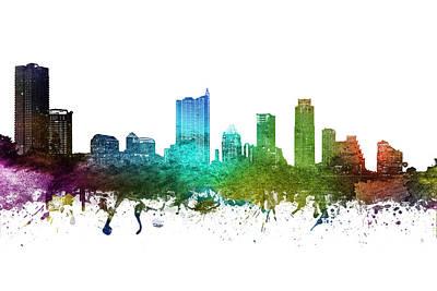 Austin Skyline Wall Art - Digital Art - Austin Cityscape Ustxau01 by Aged Pixel