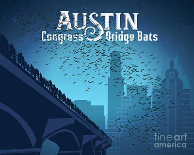 Painting - Austin Congress Bridge Bats in Blue Silhouette by Austin Bat Tours