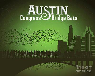 Painting - Austin Congress Bridge Bats in Green Silhouette by Austin Bat Tours