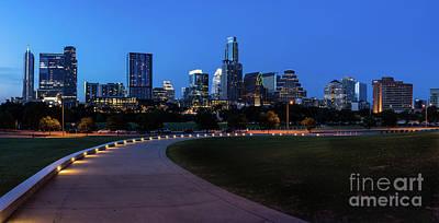 Austin Skyline Photograph - Austin Dusk Cityscape Pano by Tod and Cynthia Grubbs