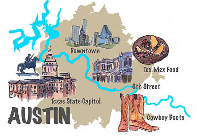 Austin Skyline Mixed Media - Austin Favorite Map With Touristic Top Ten Highlights by M Bleichner
