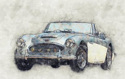 Mixed Media Royalty Free Images - Austin-Healey 3000 1 - British Sports Car - 1959 - Automotive Art - Car Posters Royalty-Free Image by Studio Grafiikka