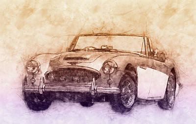 Transportation Royalty-Free and Rights-Managed Images - Austin-Healey 3000 2 - British Sports Car - 1959 - Automotive Art - Car Posters by Studio Grafiikka