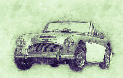 Mixed Media Royalty Free Images - Austin-Healey 3000 3 - British Sports Car - 1959 - Automotive Art - Car Posters Royalty-Free Image by Studio Grafiikka