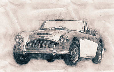 Mixed Media Royalty Free Images - Austin-Healey 3000 - British Sports Car - 1959 - Automotive Art - Car Posters Royalty-Free Image by Studio Grafiikka