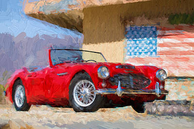 Wire Wheels Photograph - Austin Healey 3000 Impasto Study 2 by Scott Campbell