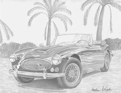 Austin Drawing - Austin Healey 3000 Mkii Sports Car Art Print by Stephen Rooks