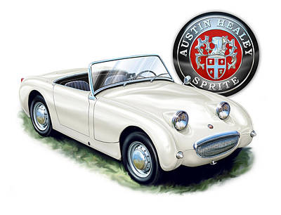 Austin Healey Bug Eye White Print by David Kyte