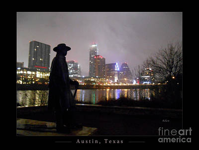 Austin Hike And Bike Trail - Iconic Austin Statue Stevie Ray Vaughn - One Greeting Card Poster Art Print