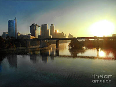 Photograph - Austin Hike And Bike Trail - Pfluger Pedestrian Bridge - Fog Lifting Bright by Felipe Adan Lerma