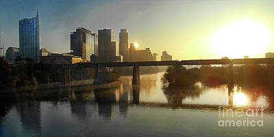 Photograph - Austin Hike And Bike Trail - Pfluger Pedestrian Bridge - Fog Lifting Bright Panorama by Felipe Adan Lerma