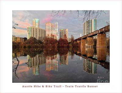 Austin Hike And Bike Trail - Train Trestle 1 Sunset Left Greeting Card Poster - Over Lady Bird Lake Art Print by Felipe Adan Lerma