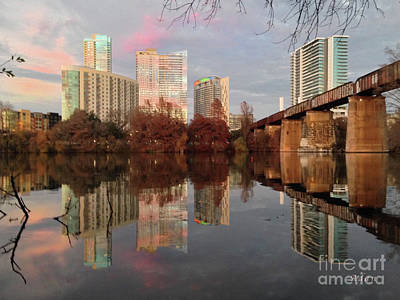Austin Hike And Bike Trail - Train Trestle 1 Sunset Triptych Left Art Print