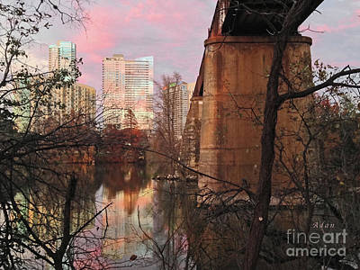 Austin Hike And Bike Trail - Train Trestle 1 Sunset Triptych Middle Art Print