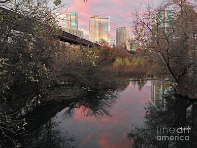 Lady Bird Lake Photograph - Austin Hike And Bike Trail - Train Trestle 1 Sunset Triptych Right by Felipe Adan Lerma