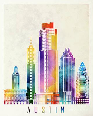 Austin Skyline Painting - Austin Landmarks Watercolor Poster by Pablo Romero